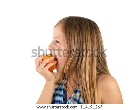 girl eating apple - stock photo