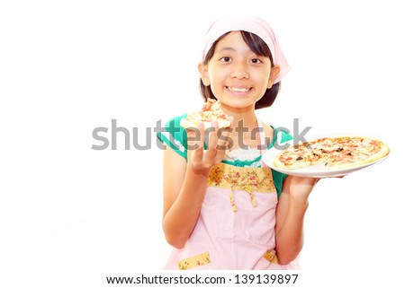 Girl eating food - stock photo