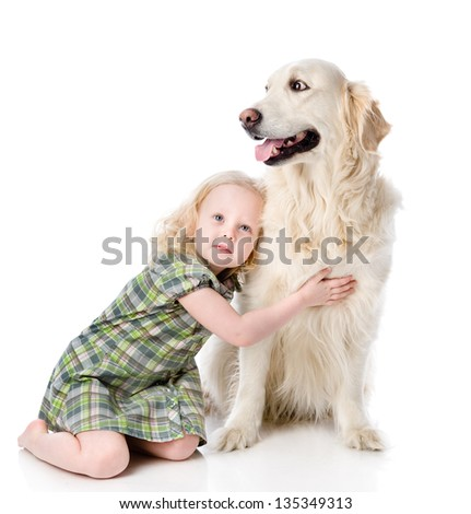 girl embraces a Golden Retriever. looking away. isolated on white background - stock photo