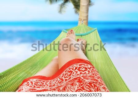 girl enjoying on the beach - stock photo