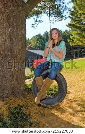 Girl Enjoying Playing Outdoors in Autumn - stock photo