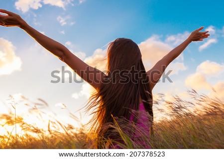 Girl enjoying the freedom. - stock photo