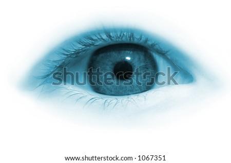Girl eye in blue tone - stock photo