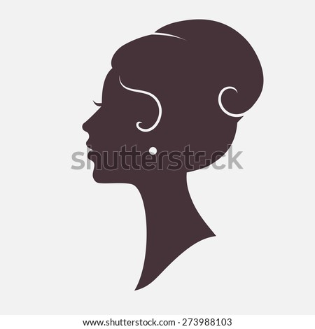 Girl Face Silhouette with Stylish Hairstyle - stock photo