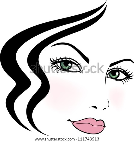Girl face with beautiful stylized haircut - stock photo