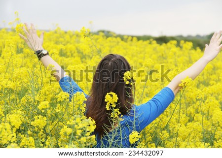 girl feeling freedom - stock photo