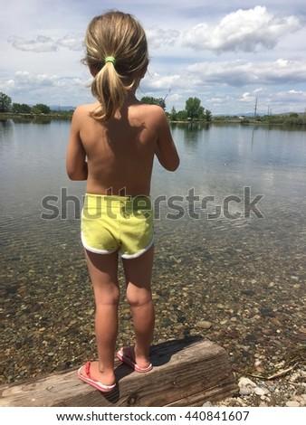 Girl Fishing - stock photo
