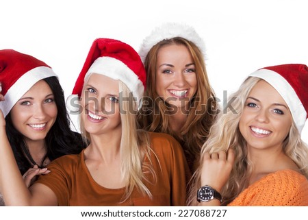 girl friends with santa hat  - stock photo
