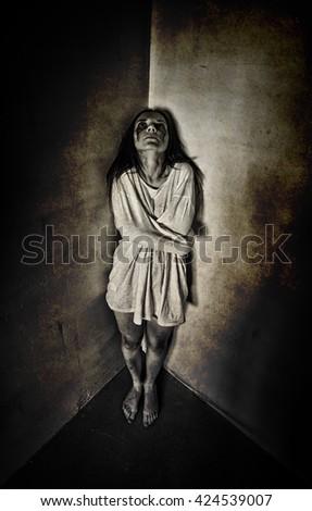 girl ghost crazy scream - stock photo
