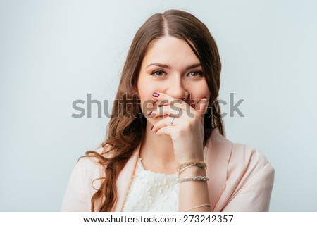 girl giggles - stock photo