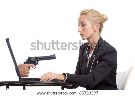 girl gun and pc - stock photo