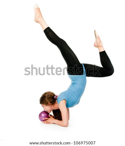 girl gymnast in blue sport suit with a ball - stock photo