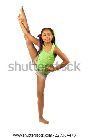 girl gymnast on the training. Isolation on a white background - stock photo