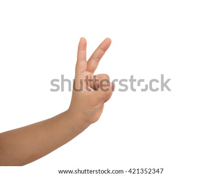 Girl hand showing two finger  on white background. Number two - stock photo