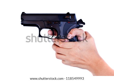girl hand with gun - stock photo