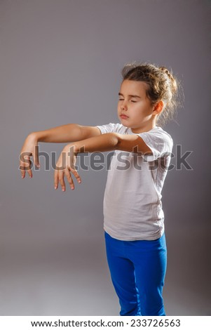 girl held out her arms walks in his sleep - stock photo