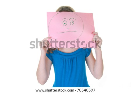 girl hiding behind neurtal, non-emotional face, part of a series - stock photo