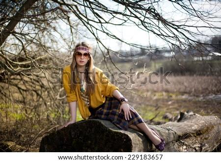 girl hippie on nature background - stock photo