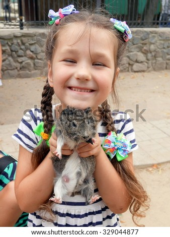 Girl holding a guinea pig and laughing - stock photo