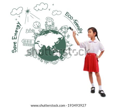Girl holding a paint brush painting with creative drawing eco friendly, save energy, isolated on white - stock photo
