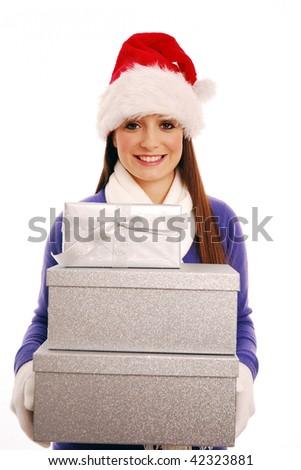 Girl holding christmas gift boxes - stock photo