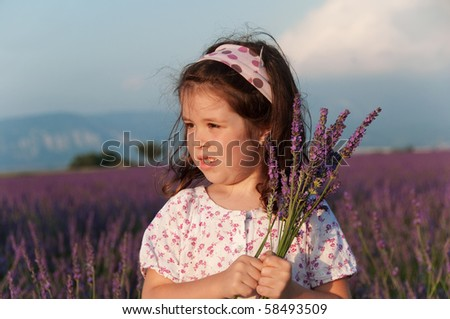 Girl holding flowers of lavender in a beautiful lavender field - stock photo