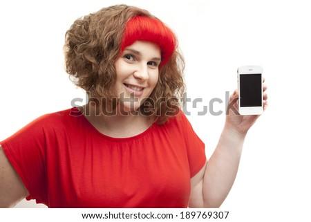 Girl holding smartphone isolated on horizontal white background - stock photo