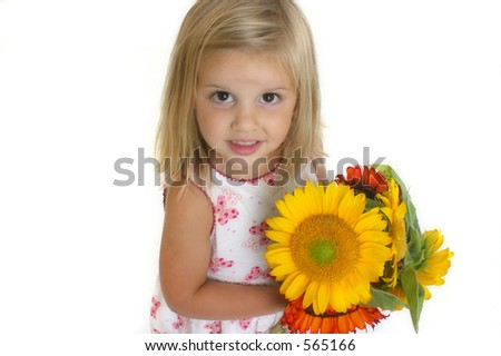 Girl Holding Sunflowers - stock photo