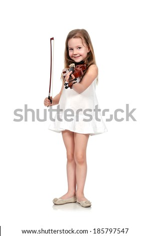 girl holding violin isolated on white background - stock photo