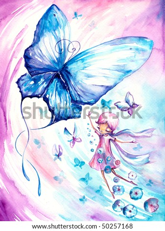 Girl imagining flying with butterflies.Picture I have created myself with watercolors. - stock photo
