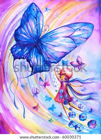 Girl imagining flying with butterflies.Picture I have created myself with watercolors and colored pencils - stock photo