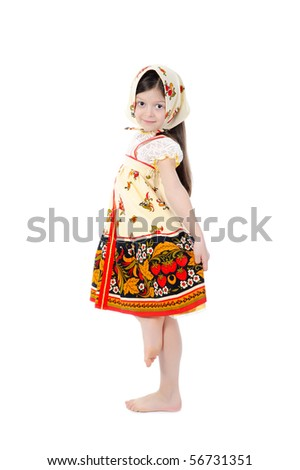 girl in a dress dances. Isolated on white background - stock photo