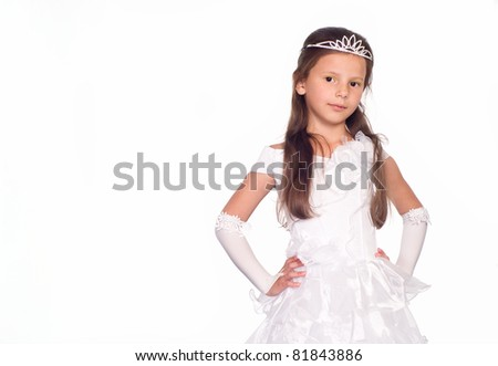 girl in a dress of princess on white - stock photo