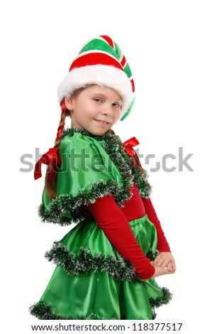 Girl in a dress of the Christmas elf. Isolated on a white - stock photo