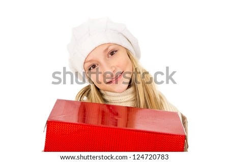 girl in a hat with a gift - stock photo