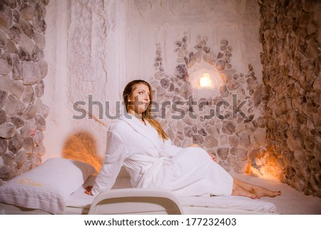 girl in a salt room - stock photo