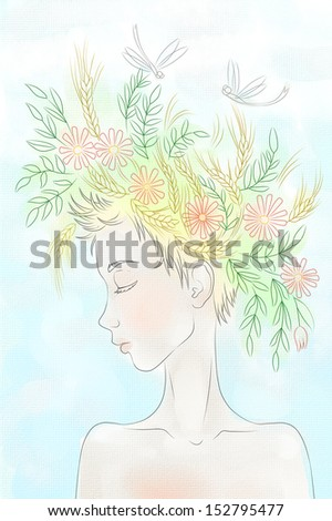 girl in a wreath - stock photo