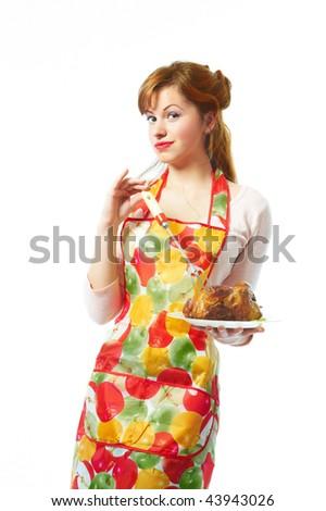 Girl in an apron - stock photo