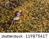 Girl in autumn forest - stock photo
