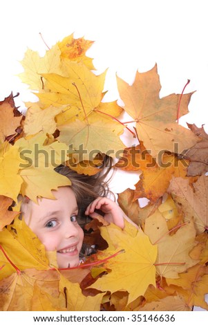 girl in autumn leaves - stock photo