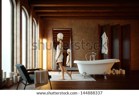 girl in bathroom with candles - stock photo