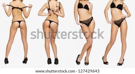 Girl in black lingerie bottom - stock photo