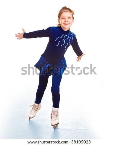 Girl in blue sport dress on skates.Isolated. - stock photo