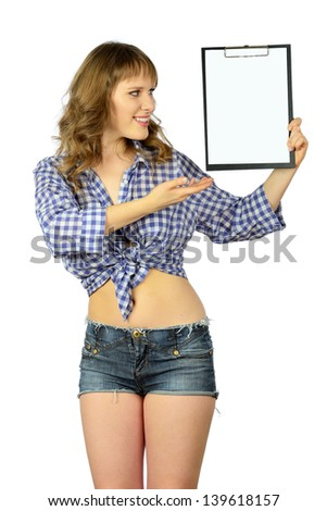 Girl in casual clothes holding blank clipboard. Isolated on white background - stock photo