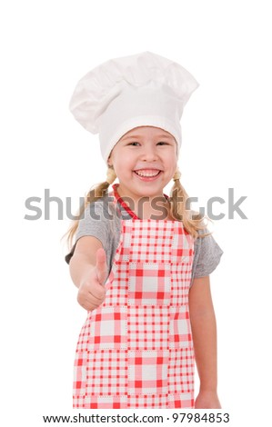 girl in chef's hat shows ok isolated on white background - stock photo