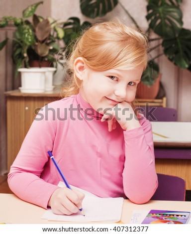 girl in classroom - stock photo