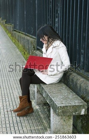 girl in college - stock photo