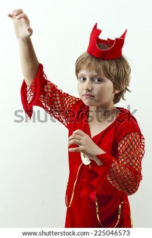 girl in costume for Halloween - little devil - stock photo