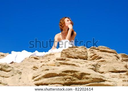 Girl in desert - stock photo