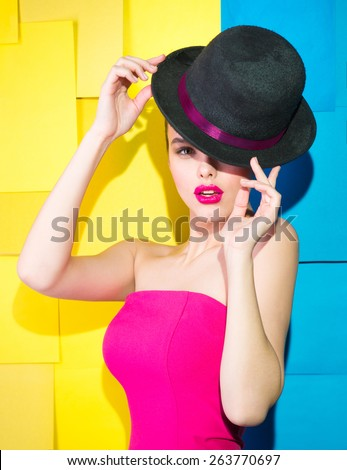 Girl in dress and hat English  - stock photo